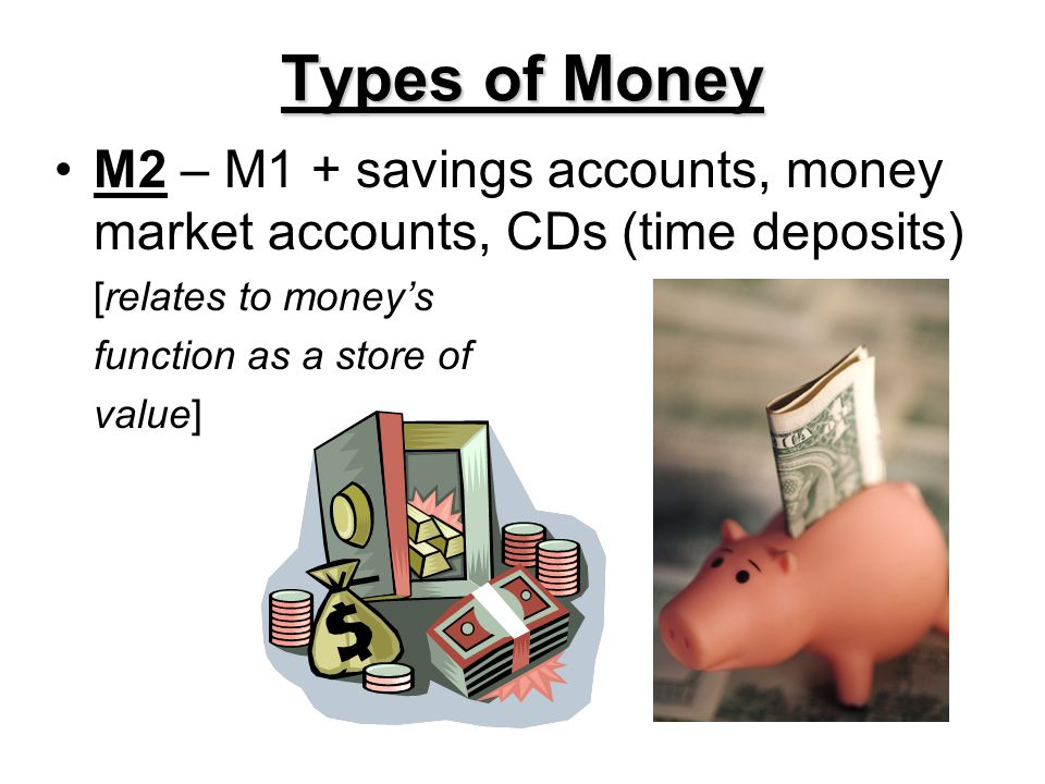 Types of Money M2 – M1 + savings accounts, money market accounts, CDs (time deposits) [relates to money's.